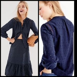 J CREW eyelet long sleeve button up cotton top